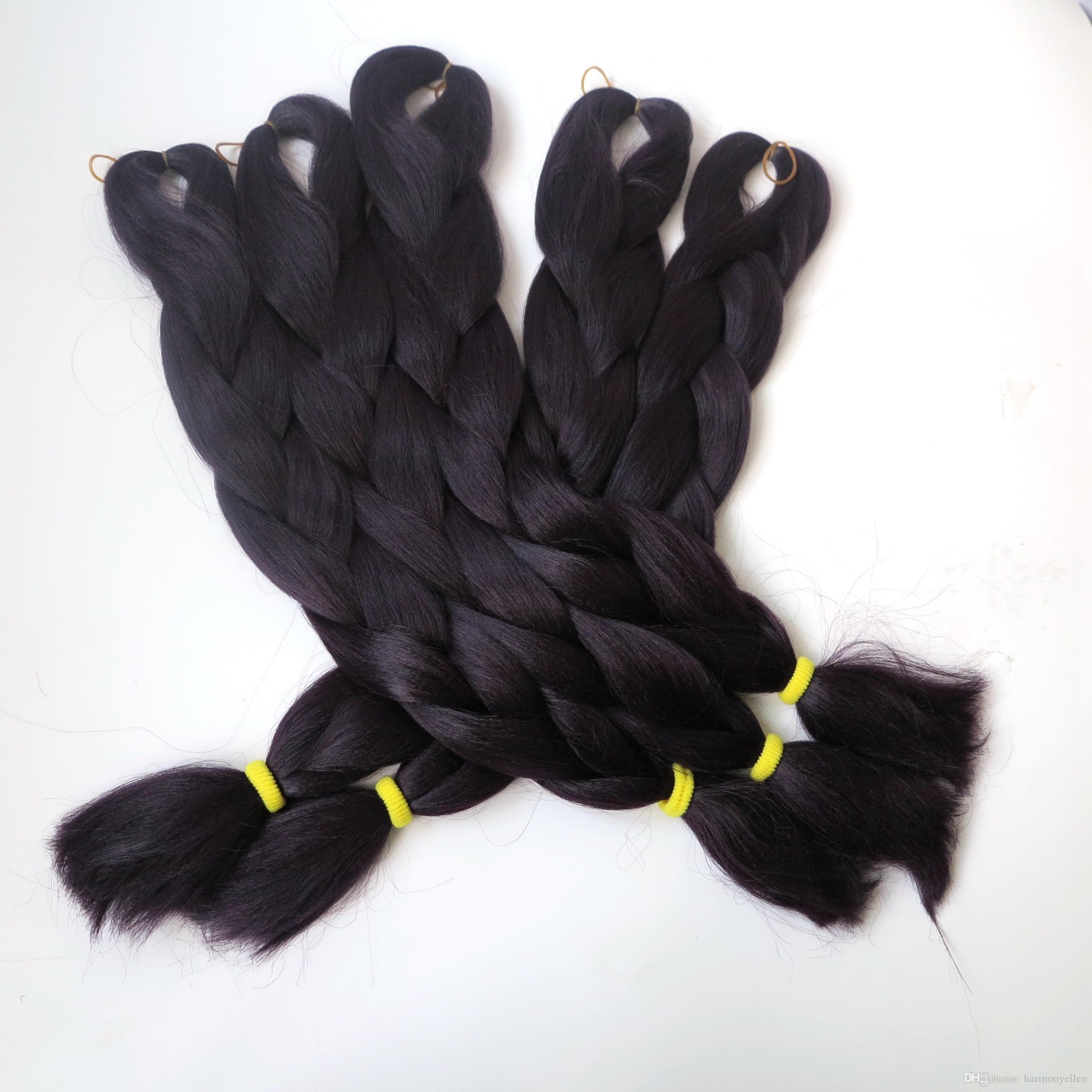 100% Kanekalon Jumbo Braid Hair 24 Inch Синтетическое наращивание волос наращивание волос Kanekalon Черный кофе Цвет Плетение волос T3903