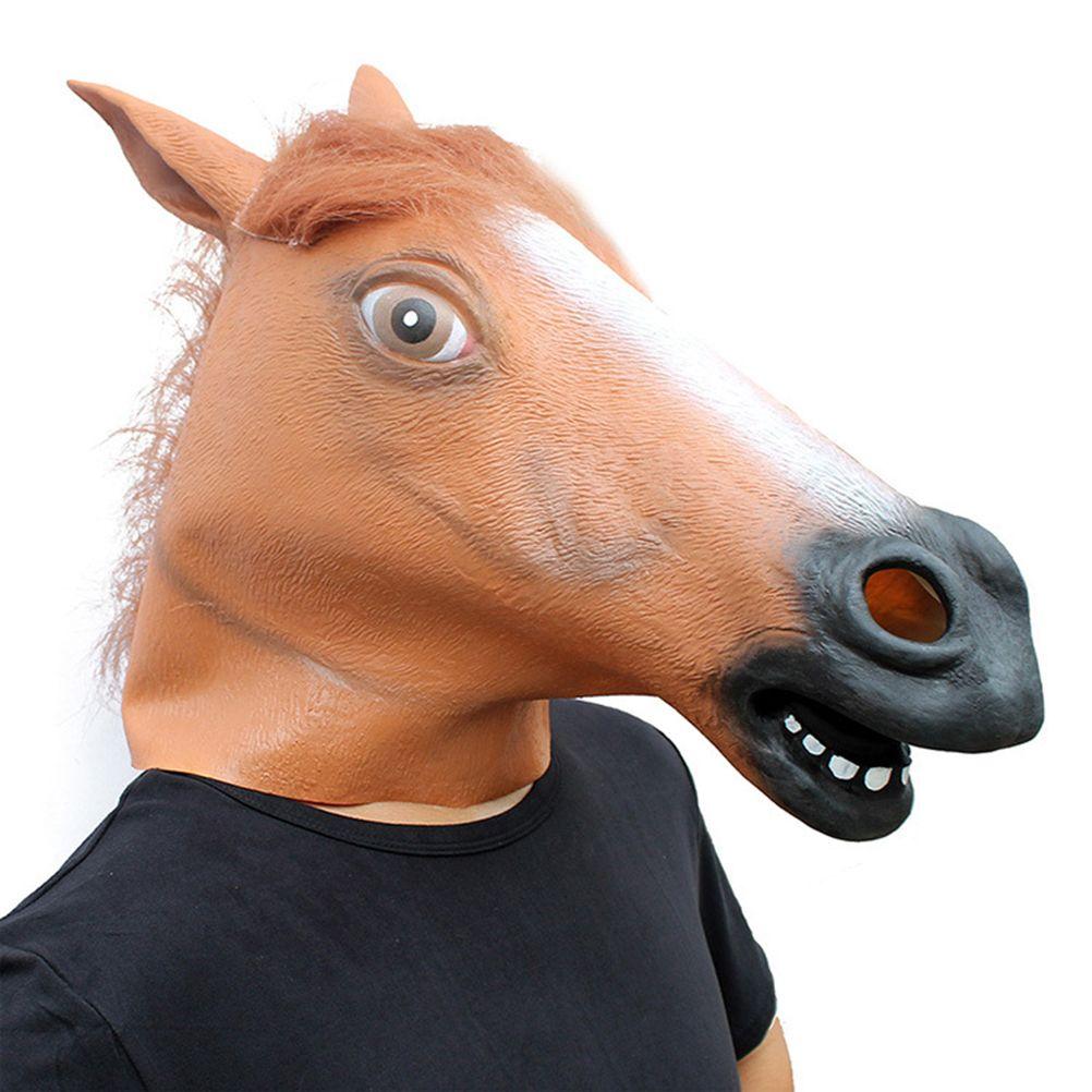 1X PVC Creepy Animal Horse Head Mask Masquerade Halloween Trick Props