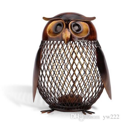 Tooarts Piggy Bank Owl Shaped Figurine Piggy Bank Money Box Metal Coin Box Saving Box Home Decoration Crafts Gift For Kids