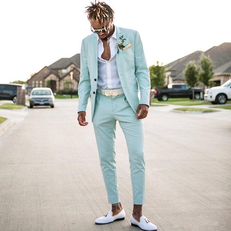 2018 Mint blue Mens Suits Slim Fit Two Pieces Beach Groomsmen Wedding Tuxedos For Men Peaked Lapel Formal Prom Suit (Jacket+Pants)
