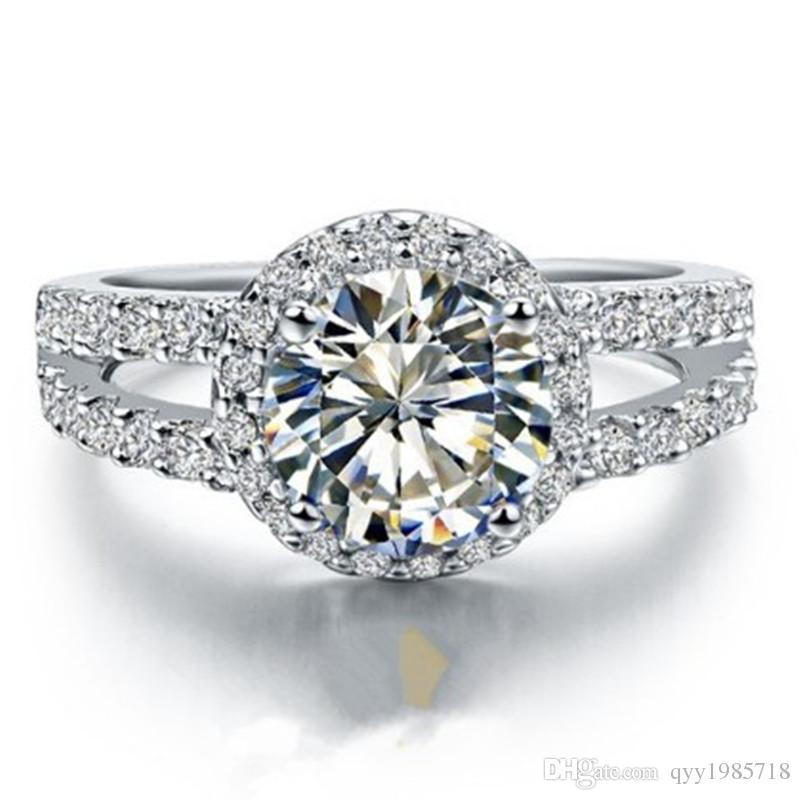 프로 모션 0.6CT 더블 밴드 합성 다이아몬드 여성 결혼 반지 925 스털링 실버 주얼리 화이트 골드 도금 약혼 반지