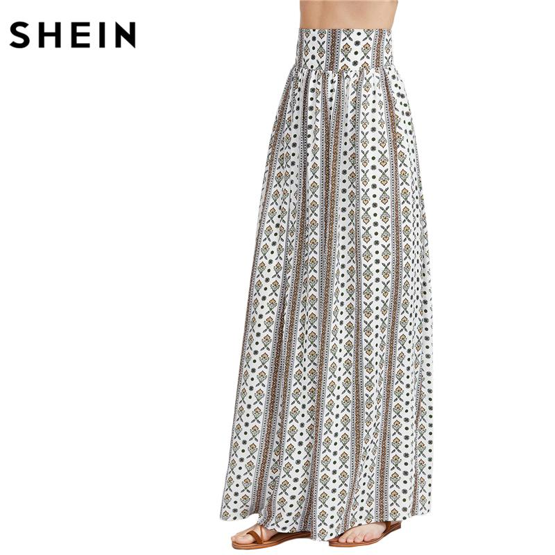 cheapest sale free delivery reasonably priced 2019 SHEIN Boho Skirt Long Maxi Skirts For Women High Waist Skirt  Multicolor Ornate Print Wide Waistband Maxi Skirt From Ckline, &Price; |  DHgate.Com