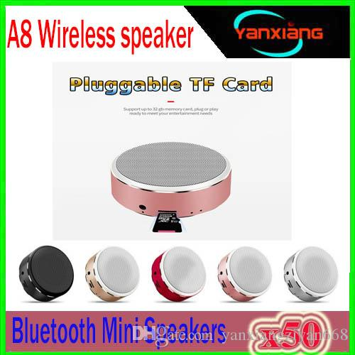 50pcs High Quality A8 Wireless Bluetooth Speaker For iPhone Samsung MP3 Portable Audio Support 32G TF Card Subwoofer Mini Speaker YX-A8-4