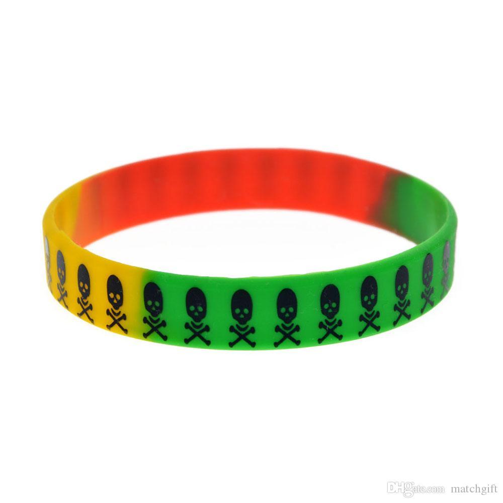 100 шт. Напечатаны череп силиконовый браслет хип-хоп полоса панк стиль для взрослых для продвижения подарка