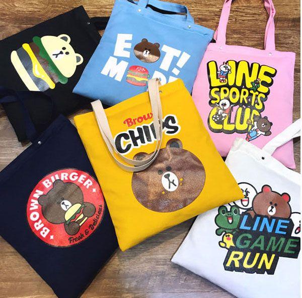 Pattern Canvas Bags Cute Cartoon Shoulder Bag Brown Bear Shopping Bag Casual Tote Beach Bags 31*39cm Free Shipping