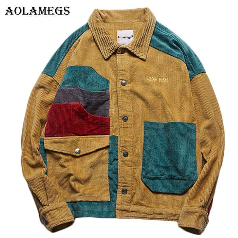 Aolamegs Ceket Erkekler Kadife Patchwork Erkek Ceket Cepler High Street Moda Günlük Dış Giyim Erkekler Coat 2018 Sonbahar Streetwear