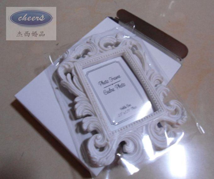 Promozione Bomboniera 240 pz / lotto Portafoto bianco barocco portafoto in scatola bianca