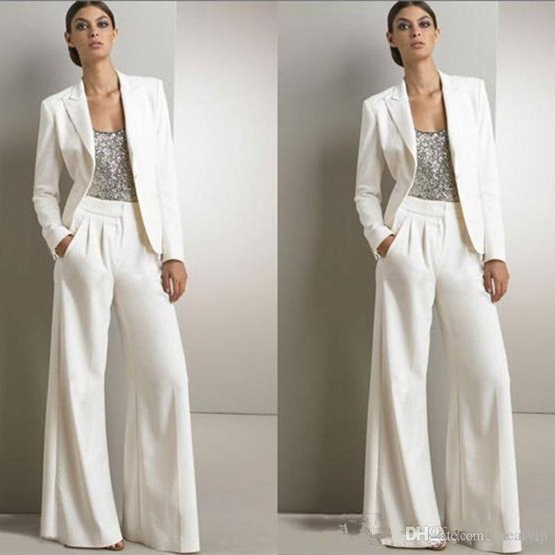 Weiße Mutter der Braut Bräutigam Hose Anzüge für Silber Pailletten Hochzeit Gastkleid Plus Größe Hosenanzug Set mit Jacken Dame Formale Anzug