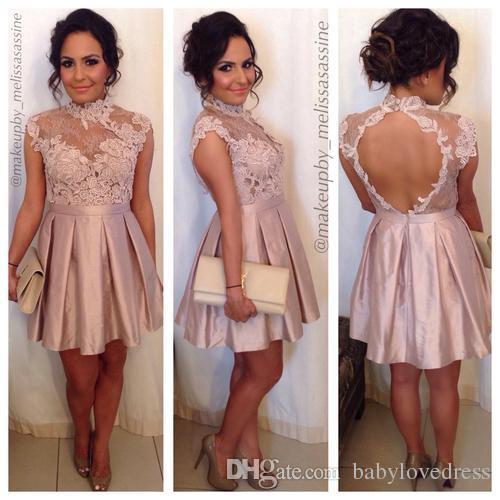 Sexy Lace Party Dresses Backless High Neck Mini Cap Sleeve Prom Cocktail Dress Graduation Homecoming Queen Gowns maid of honor dress