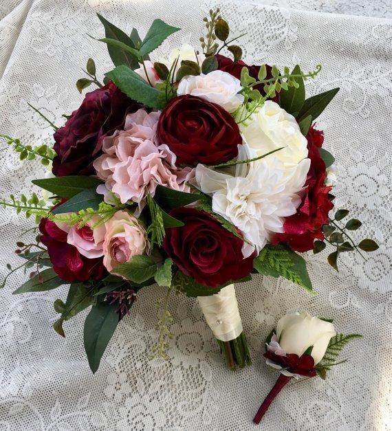 Rustikaler Hochzeitsstrauß, Hochzeitsstrauß, Burgund erröten Brautstrauß, Seide Hochzeitsblumen, Hochzeitszubehör