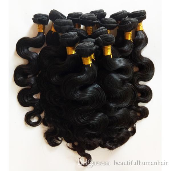 Onda del cuerpo de la trama del cabello remy de la India europea sin procesar 8-28 pulgadas mejor calidad Completa cutícula Extensiones de cabello humano virgen brasileño peruano