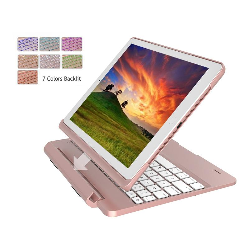 Luxury Keyboard Case For iPad 2017 Slot Cover Flip Bluetooth Backlit Keyboard For iPad Air 2 Case With Keyboard Cover For Tablet