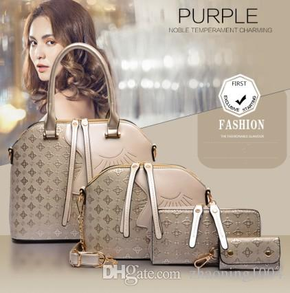 4PCS Sets Handbags Luxury Designer Women Fashion Bags Ladies Leather Shoulder Office Tote Bag Cheap Woman Shell Hand Bag Gift