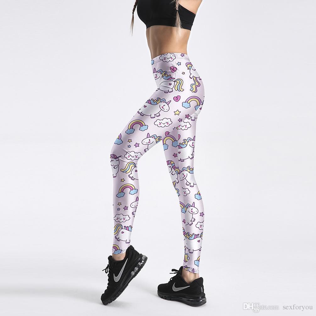 New Sexy Girl Pencil Yoga Pants Rainbow Unicorn Donut Pony Printed Elastic Slim Fitness Workout Women Leggings Size S-4XL