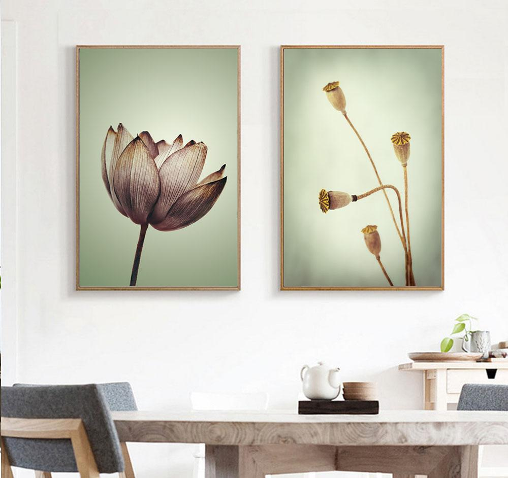 Watercolor Flower Minimalist Wall Art Picture On Canvas Lotus Children Room Decor Prints Poster Frameless Painting