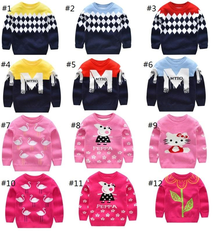 Boy Winter Pullover Sweaters Girls Flowers Warmth Sweaters Children M Plaid  Design Long Sleeve Sweaters Boy Winter Plaid Pullover 100 140CM Sweater