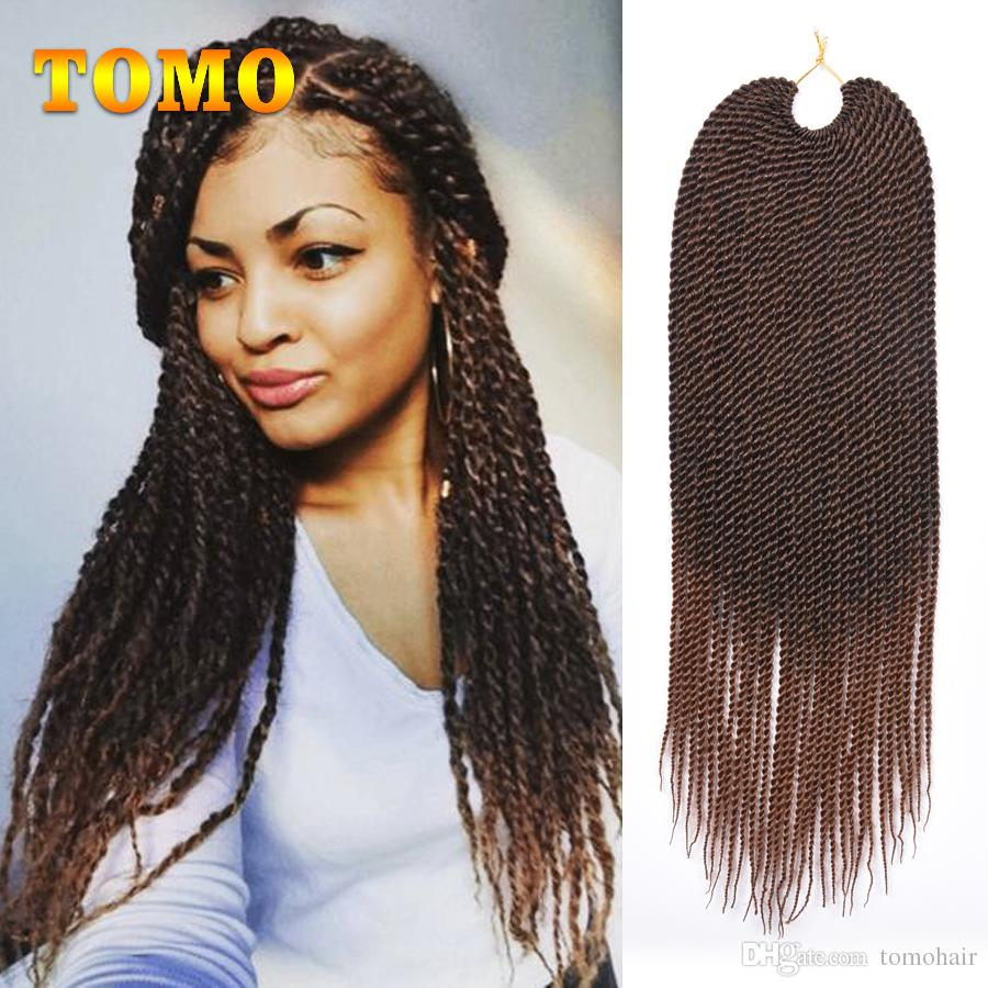 TOMO Ombre Crochet braids 30 Roots/pack Senegalese Twist Hair Synthetic Braiding Hair Extensions for Black/White Women grey,blue,pink,brown