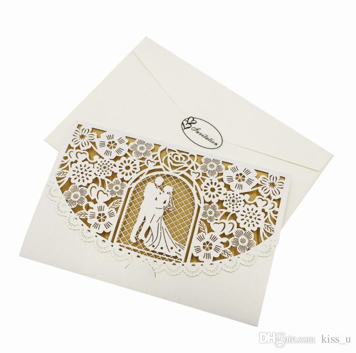 200 pçs / lote Convites de Casamento com Cartão Interno Em Branco Cartão de Convite De Corte A Laser para Festa de Casamento de Papel De Ouro Oco Cartões de Convite de Aniversário