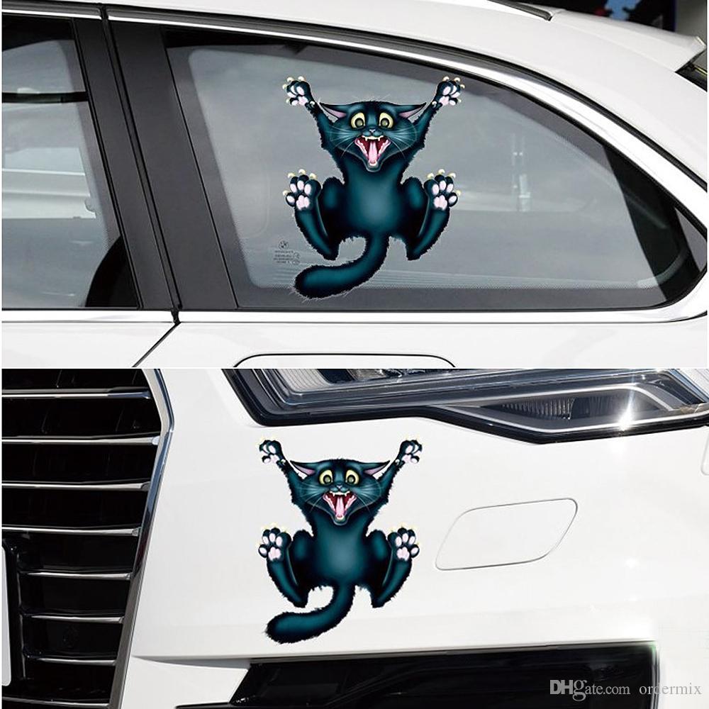 17cm * 13.5cm Auto Moto Autocollant 3D Crazy Cat Voiture- style Autocollants De Voiture et Stickers Fenêtre De Voiture Décor Corps Décoration