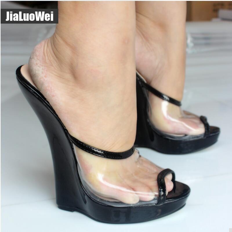 Women Transparent Wedge Super High Heels Platform Sandals Buckle Belt Shoes PUMP