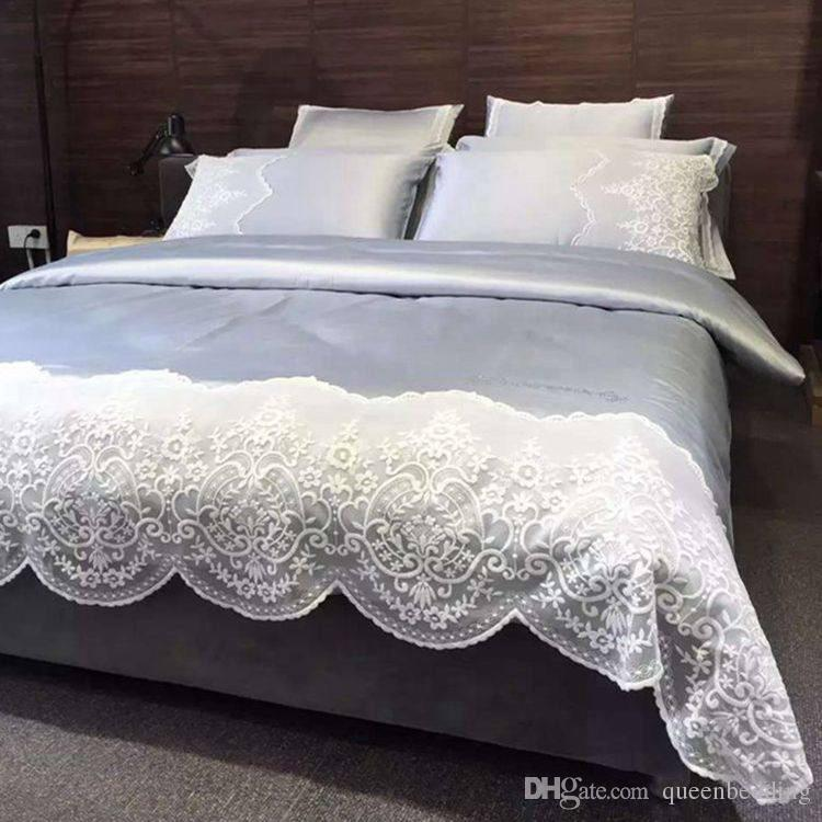 Luxury SILK LACE Grey color Hollow out Home cotton Bedding sets King Queen Size Princess EUROPE STYLe Bedding Bedsheet Duvetcover Pillowcase