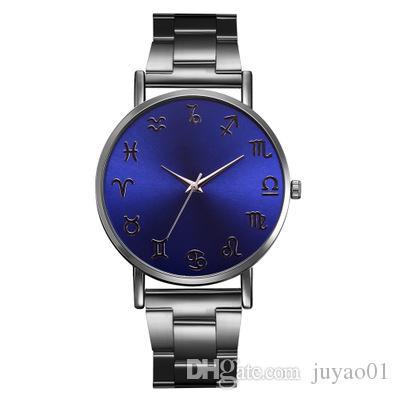 Estudiante Ultra-delgado Señoras especiales Cinturón de acero Reloj Personalidad caliente Espejo azul Moda Reloj clásico clásico para mujer