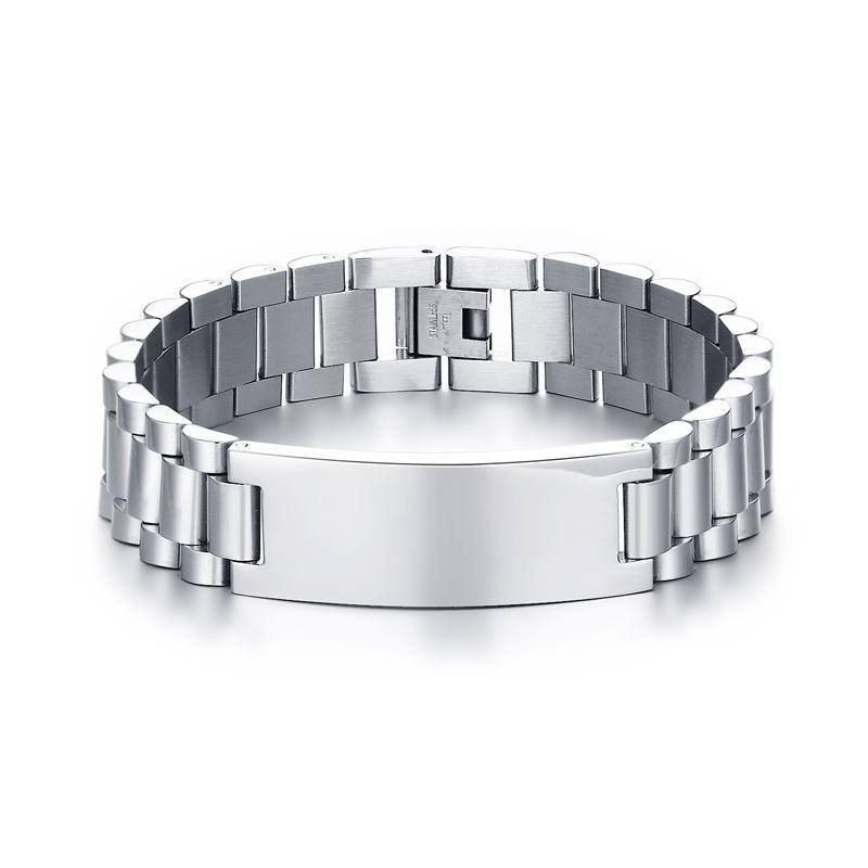Fashion Mens Bracelets Stainless Steel Made Scratch Resistant ID Bracelet for Men Free Armband Pulsera Jewelr