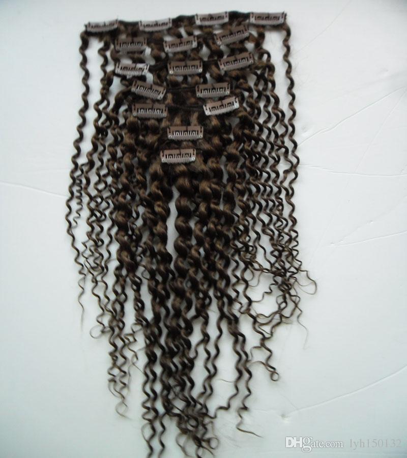 Clipe Em Extensões Do Cabelo 100g clipe em extensão do cabelo afro Clipe Brasileiro Em Extensões Do Cabelo Humano Cabeça Cheia 9 Pçs / set 100G