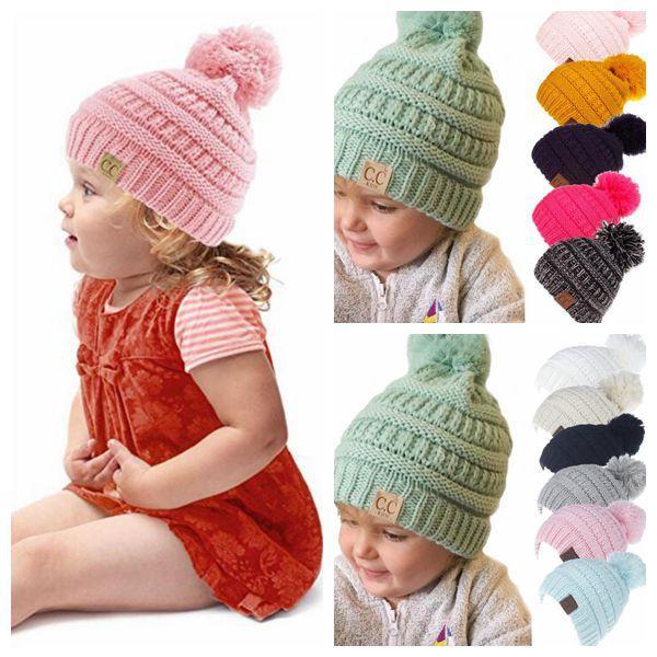 Compre Kids Cc Label Hat Niñas Gorro De Invierno Cálido Sombreros De ...