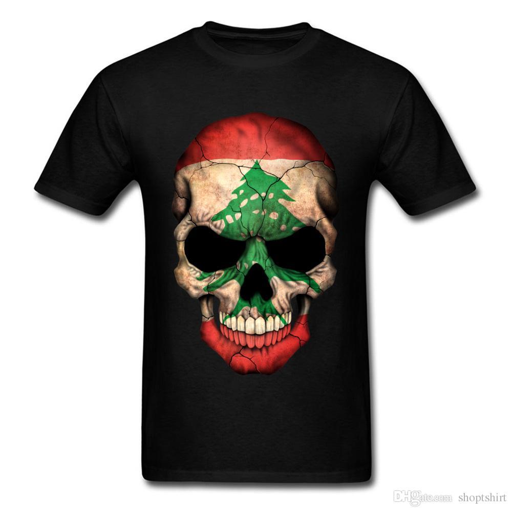 Camiseta del cráneo de la bandera libanesa del friki de los PP en venta Camiseta respirable de los hombres para la camisa 3D de los hombres Camiseta coreana completa de XXXL del varón Ropa de encargo