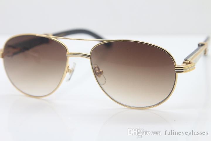 Freies Verschiffen 18K Dekoration Weiße Sonnenbrille Horn Schwarz Büffel CT569 Gold Metall Sonnenbrille Großhandel C Gläser Runde Gold Größe: 57-22- LQHF