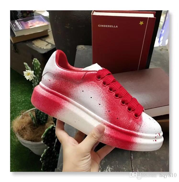 Sapatilhas OVERSIZED 2018 Novo unisex luxo sapatos estilo de Pintura de Couro Genuíno Sapatos de Grife Tamanho 35-44 modelo LB70823