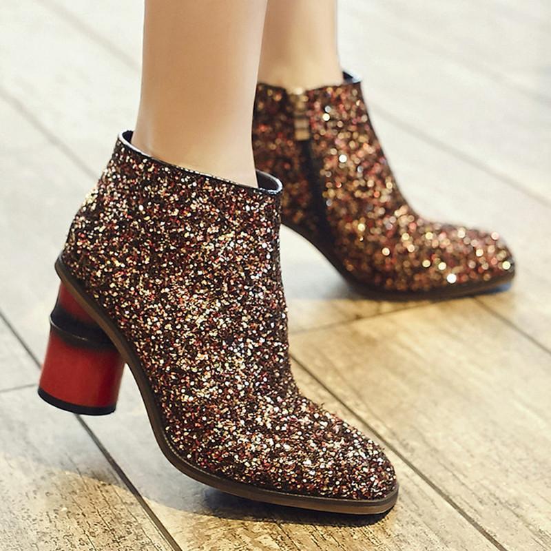 Brand New Glitter Chaussures Femmes Haute Bottes De Mode Automne Chaussures Femmes Talons Hauts Bottines Confortables Pour Femmes Haute Quanlity
