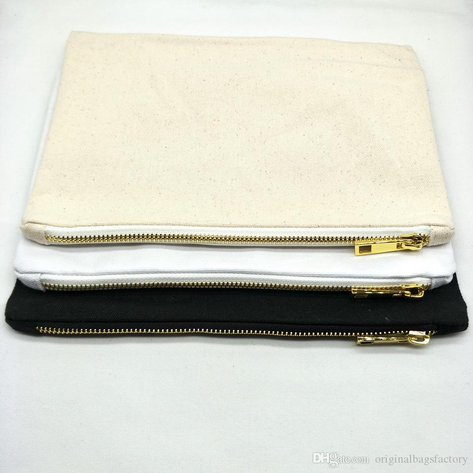 7x10in blank cotton canvas makeup bag with matching color lining and golden zip black/white/ivory cotton cosmetic bag toiletry bag free DHL