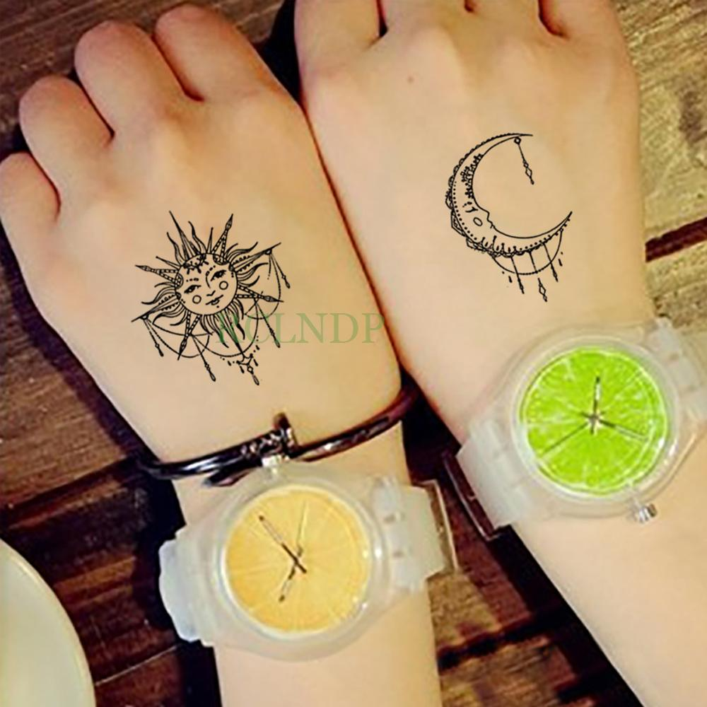 c5ffc421d Waterproof Temporary Tattoo Sticker Sun Moon Fake Tatto Flash Tatoo  Tatouage Wrist Foot Hand Arm For Girl Women Men Kids Temporary Gold Tattoo  Temporary ...