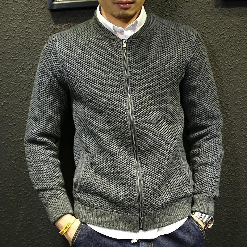 Men sweater jacket winter 2018 new autumn teenage boy cardigan knitted outerwear slim male baseball clothing zipper fashion C18111501