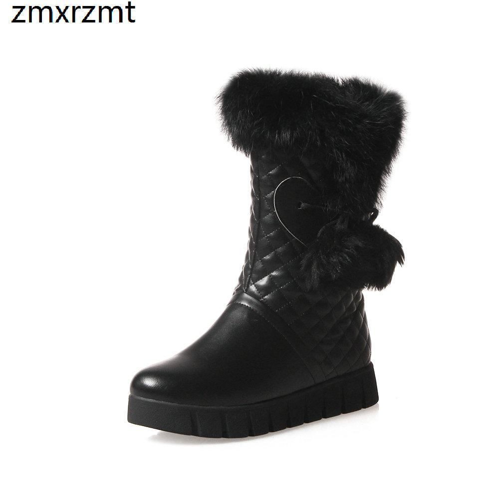 2019 женщины сладкий середины икры снегоступы 3 см низкий каблук женская обувь, чтобы согреться зимой партия обуви это черный белый и абрикос