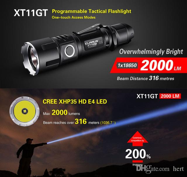 KLARUS XT11GT Waterproof 2000 Lumens LED Flashlight CREE XHP35 HD E4 LED Triple Switchs One Touch Tactical Rechargeable Lanter Torchlight