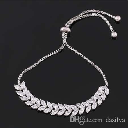 baiduqiandu Marquise Cut Cubic Zirconia Crystal Leaf Allure Zircon CZ Adjustable Bracelets for Women or Wedding