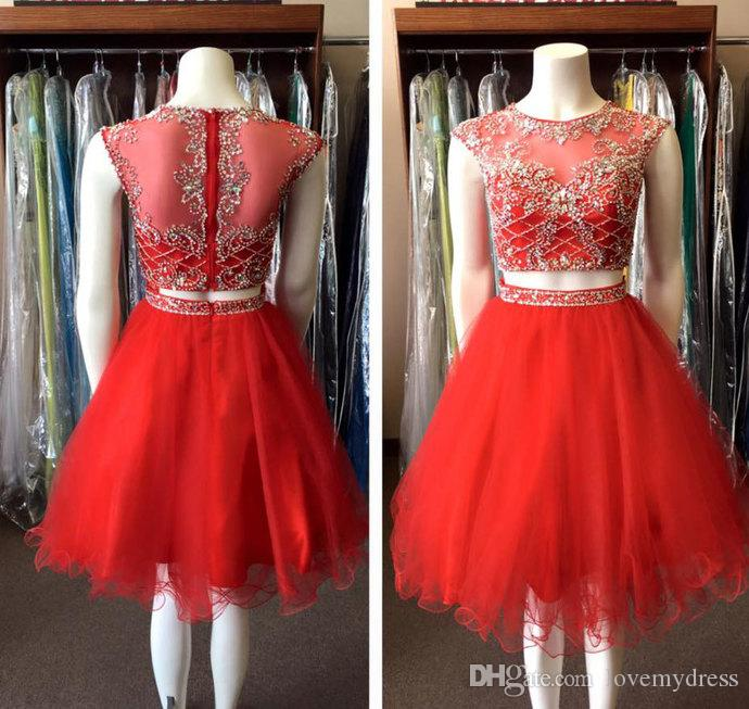 Sparkly Red Crystal Cocktail Dress Short Tulle Two Pieces Rhinestones Prom Dress Homecoming Party For Girls Formal Gowns