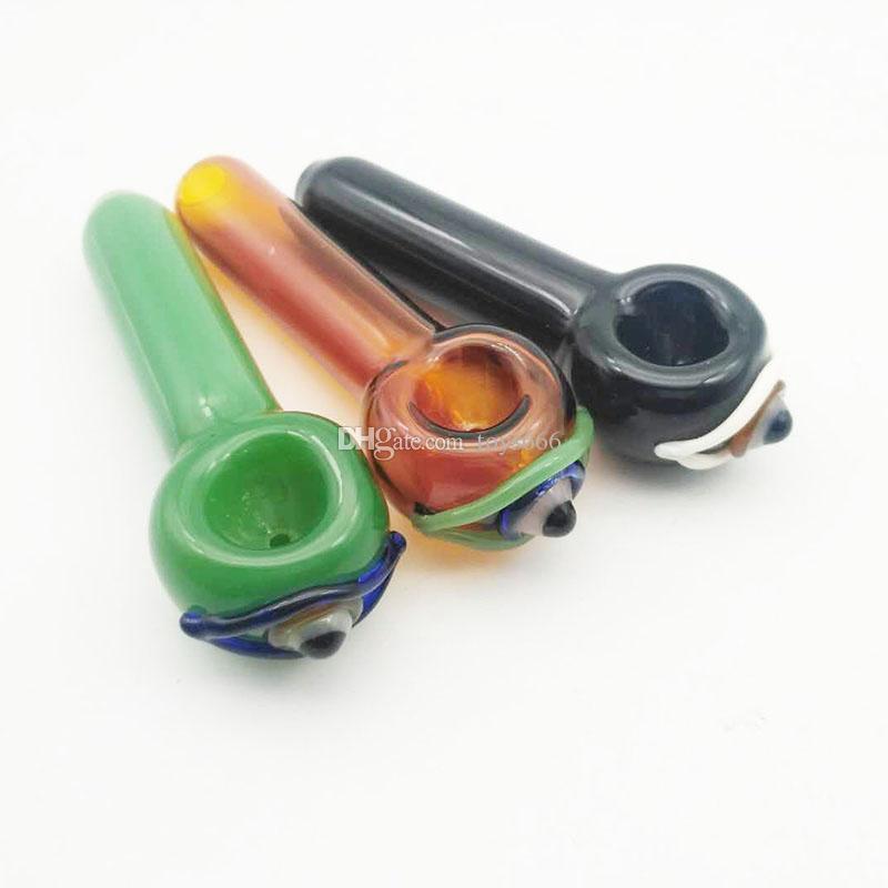 Renkli Göz Topu Stil Cam El Borusu Kaşık Tütün Sigara Borular