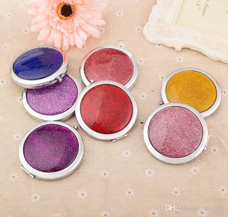 Glitter portable compact mirrors bridal shower favors wedding giveaways party gifts wholesale 100pcs lot free shipping SN1171