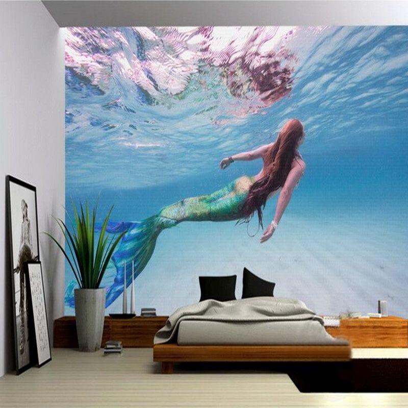 벽 3 D 캔버스 공주 벽화 키즈 룸 카페 KTV 배경 화면 배경 화면에 사용자 정의 사진 벽 종이 3D의 인어
