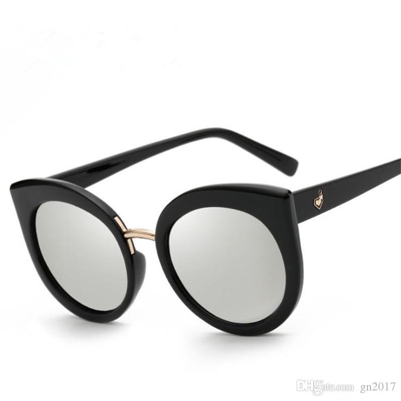 Fashion Personality Cat Eye Sunglasses for Men Women Brand Designer Sun Glasses Color Film Eyeglasses for Shopping Anti-UV Spectacles