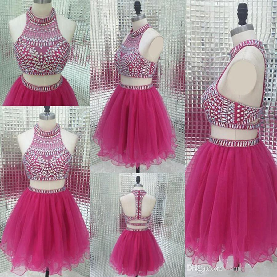 New Sparkly Two Piece Homecoming Dresses Vintage Fuchsia Beading Short Sweet Sixteen Juniors Ball Gowns Cheap Party Weddings Guest Dress