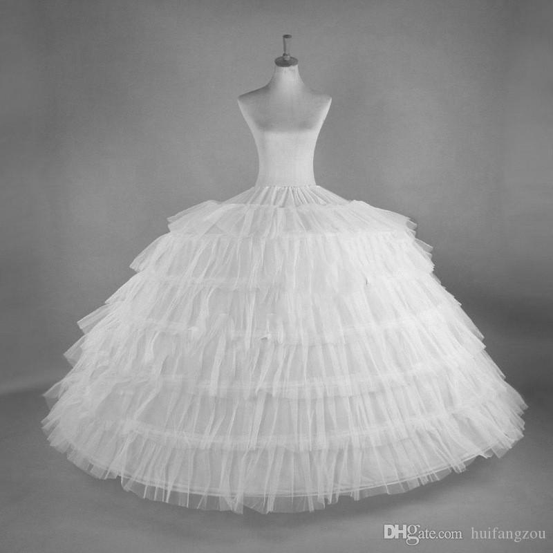 صورة حقيقية الأبيض التنورة الداخلية القرينول قماش قطني 6-هوب تول فساتين زفاف العرسان التنورة الداخلية مجاني حجم الكرة بثوب الزفاف اكسسوارات تحتية