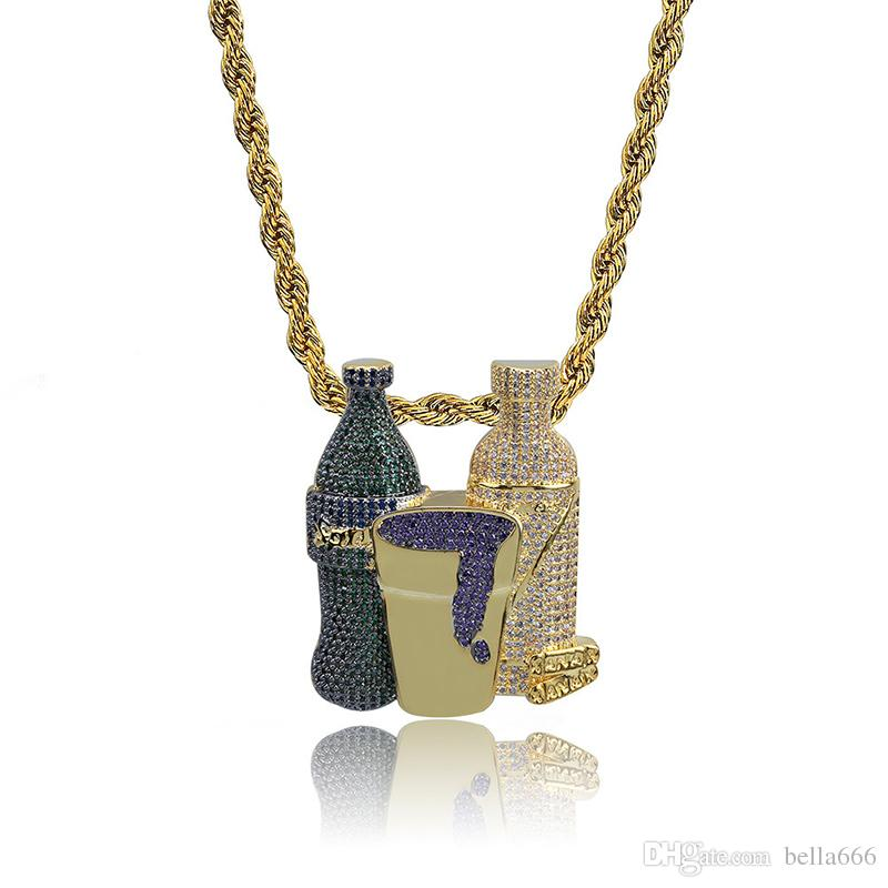 Men Hip Hop Sprite Bottle Purple Cup Combo Pendant Necklace Inlaid Colorful Cubic Zirconia Charm Necklaces Jewelry