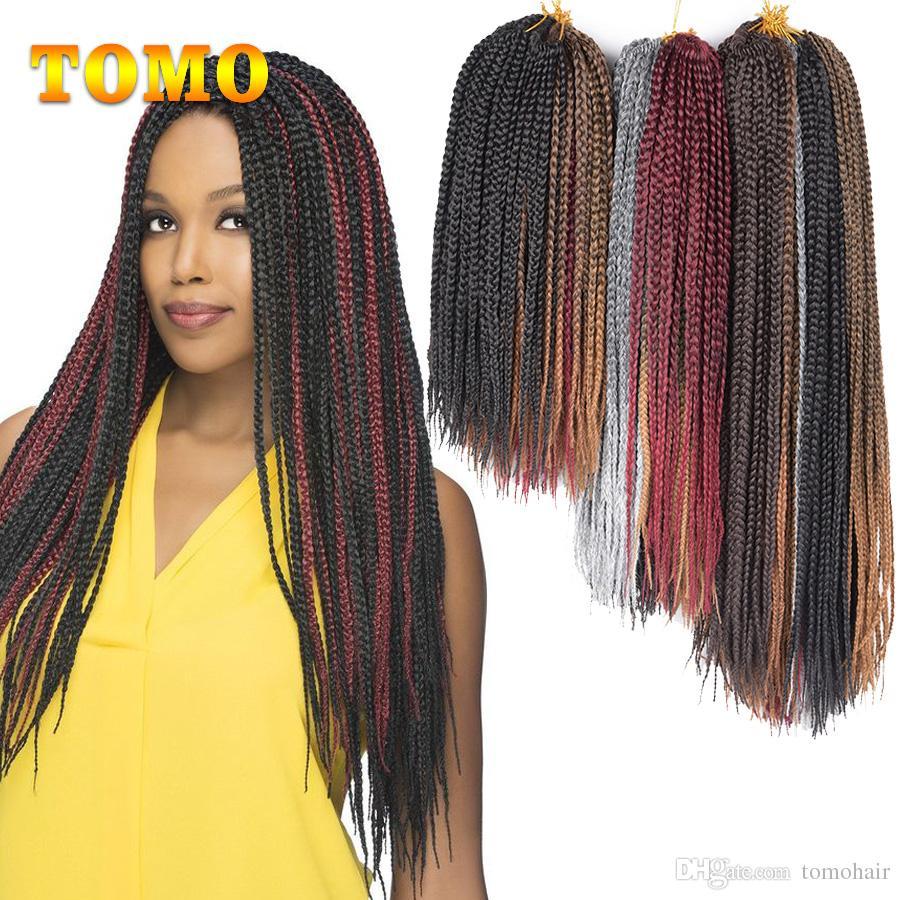 TOMO Brown Grey Burgundy Crochet Braided Hair Pure/Ombre 3X Box Braid Synthetic Kanekalon Braiding Hair Extensions For Black Or White Women