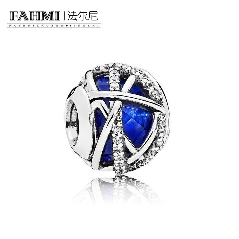 Fahmi 100% 925 Sterling Silver 1: 1 Oryginalny 796361NCB Autentyczne temperament Moda Glamour Retro Bead Wedding Women Jewelry
