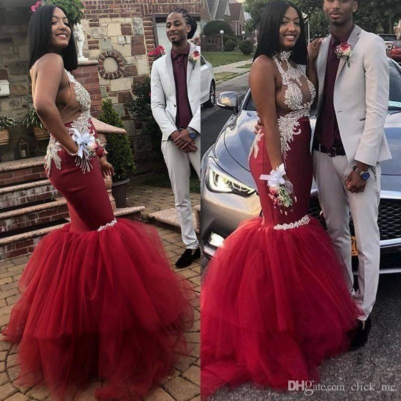 Темно-красные сексуальные платья выпускного вечера саудоафриканский высокой шеи 3D кружевные аппликации русалка вечернее платье сексуальная спина тюль коктейльные платья вечерние платья